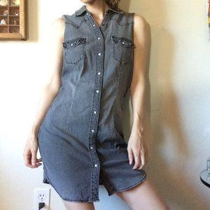 Divided Dresses - Snap Up Grey Chambray Denim Dress Tunic Divided